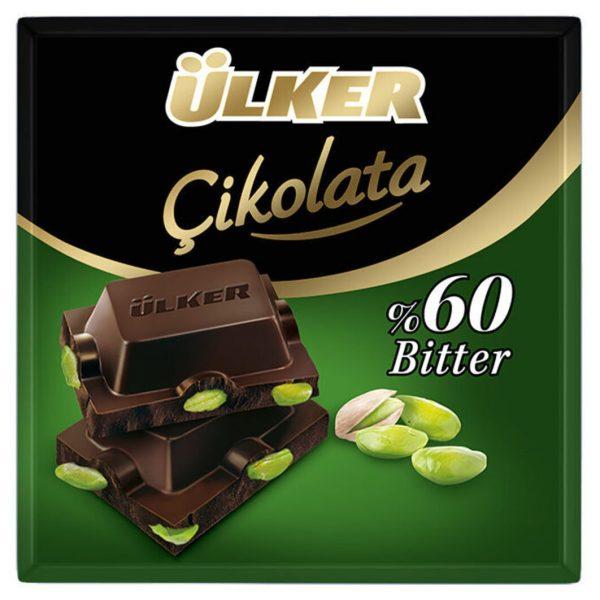 شکلات تخته ای تبلت تبلتی اولکر الکر آلکر پسته تلخ دارک اصل اصلی اورجینال خارجی Ulker Cikolata 60% %60 Bitter 65 Fistikli