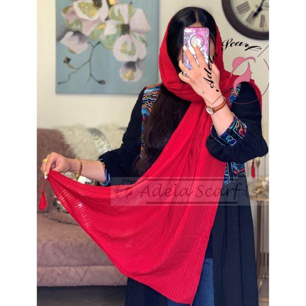 قرمز سرخ فروشگاه فروش خرید آنلاین انلاین اینترنتی شال روسری نخی پوشاک زنانه دخترانه رشت گیلان Scarf Shawl
