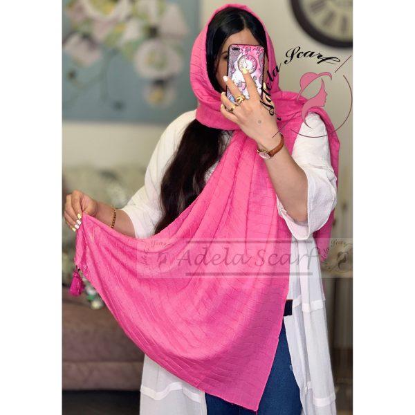صورتی شفقی فروشگاه فروش خرید آنلاین انلاین اینترنتی شال روسری نخی پوشاک زنانه دخترانه رشت گیلان Scarf Shawl