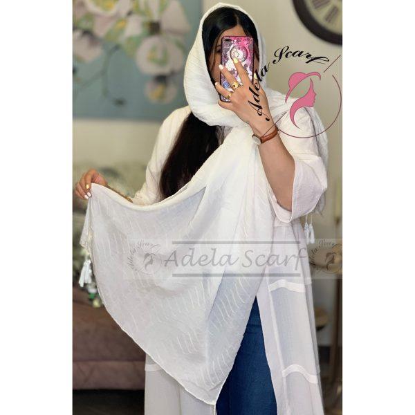 سفید فروشگاه فروش خرید آنلاین انلاین اینترنتی شال روسری نخی پوشاک زنانه دخترانه رشت گیلان Scarf Shawl