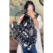 مشکی سیاه طرحدار طرح دار مینیاتوری فروشگاه فروش خرید آنلاین انلاین اینترنتی شال روسری نخی پوشاک زنانه دخترانه رشت گیلان Scarf Shawl